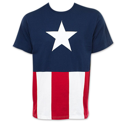 Captain America Patriotic Sewn Flag T-Shirt