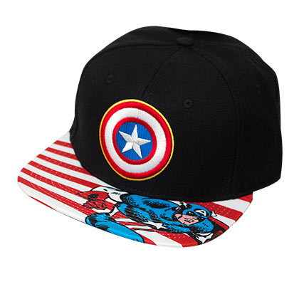 Captain America Striped Brim Black Snapback Hat