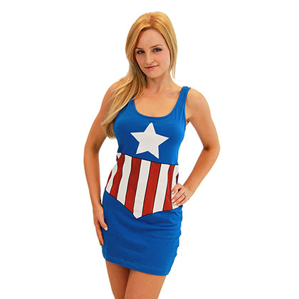 Women's Captain America Comic Cotton/Spandex Tank Dress
