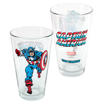 Captain America Toon Tumblers Pint Glass