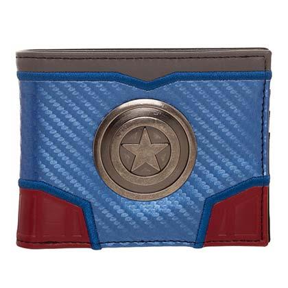 Captain America Bifold Medallion Logo Carbon Fiber Wallet