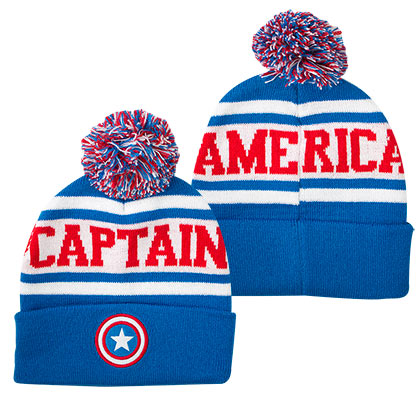 Captain America Winter Cuff Pom Beanie