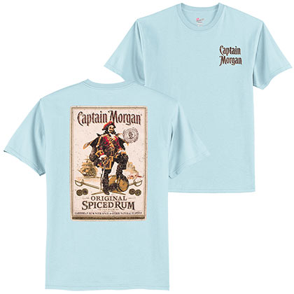 cc625141648d2 Captain Morgan Bottle Label Light Blue Tshirt