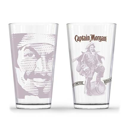 Captain Morgan Set Of Two Tonal Pirate Pint Glasses