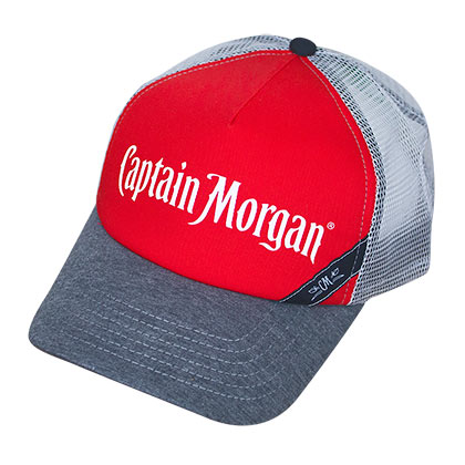 Captain Morgan Red And White Mesh Trucker Hat