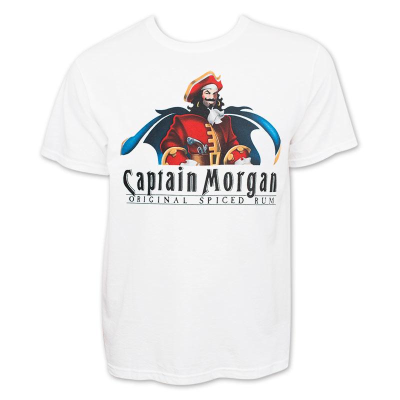 captain morgan men 39 s white logo t shirt. Black Bedroom Furniture Sets. Home Design Ideas