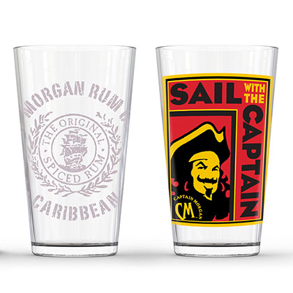Captain Morgan Sail With The Captain Pint Glass Pair