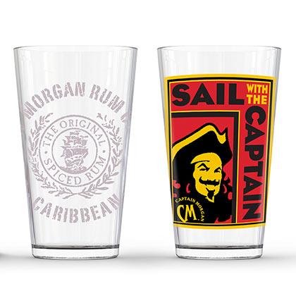 Captain Morgan Sail With The Captain Pint Glass Pair