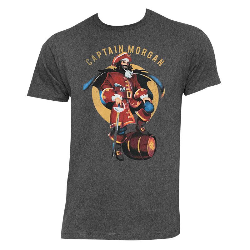captain morgan men 39 s gray barrel pose t shirt. Black Bedroom Furniture Sets. Home Design Ideas