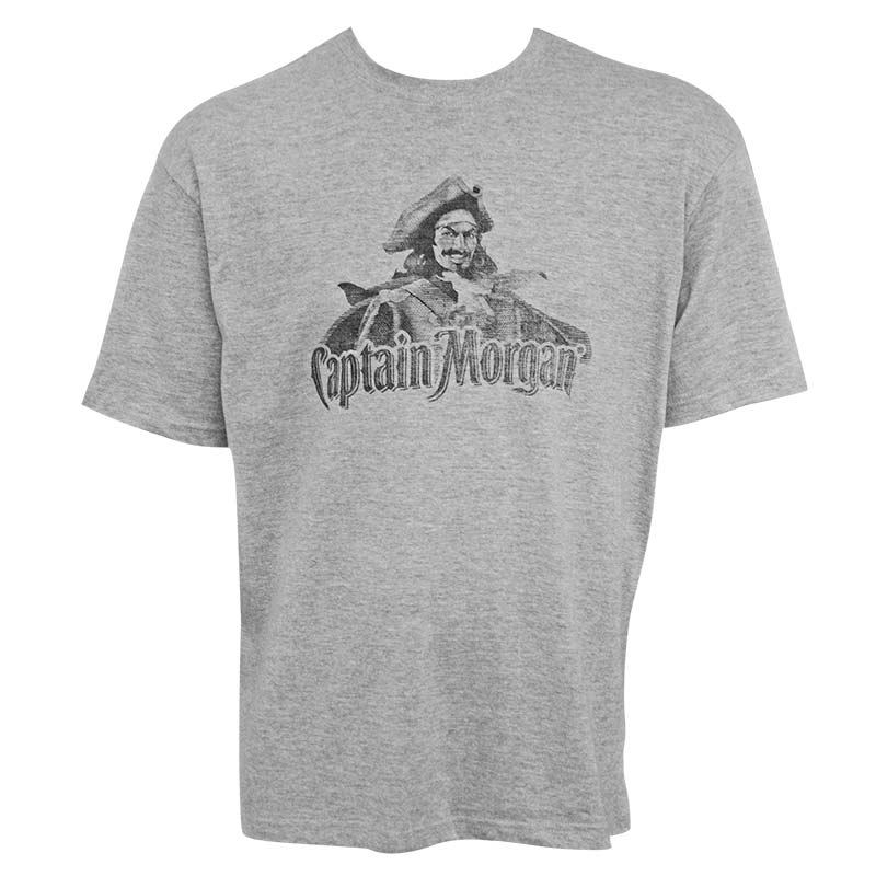 Captain Morgan Classic Logo Heather Grey Men's Tee Shirt
