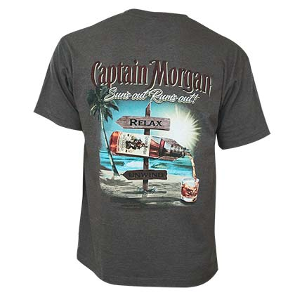 Captain Morgan Men's Gray Suns Out Rums Out T-Shirt