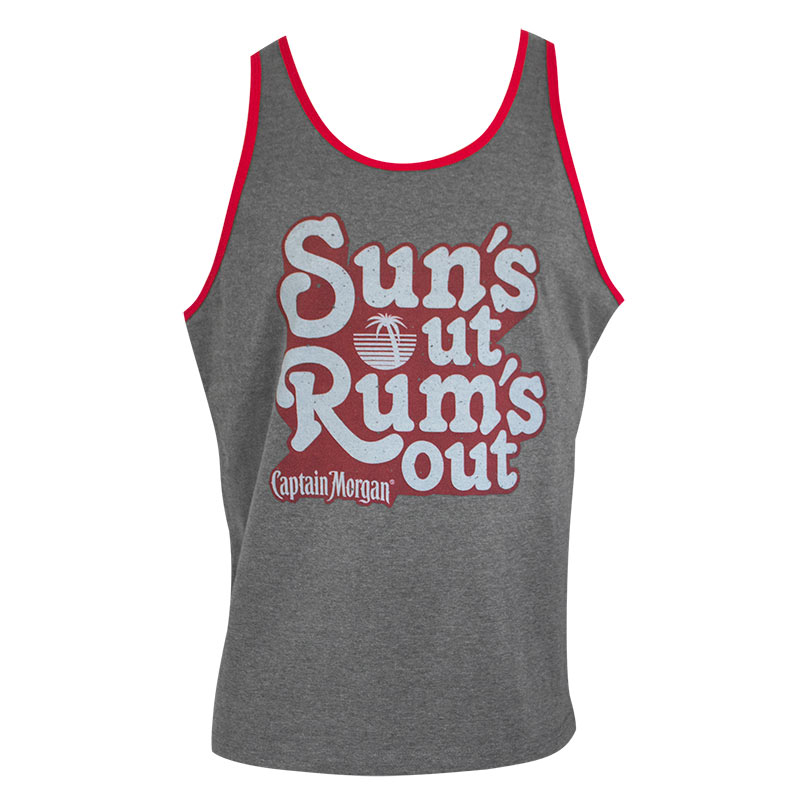 Captain Morgan Men's Grey Suns Out Rums Out Tank Top