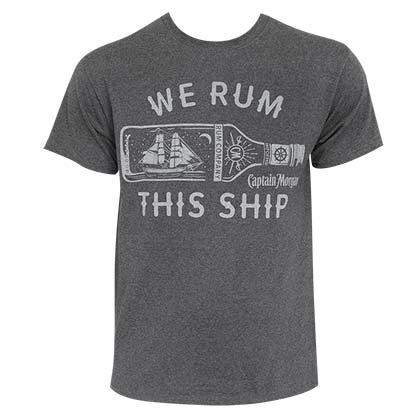 Captain Morgan Men's Grey We Rum This Ship T-Shirt