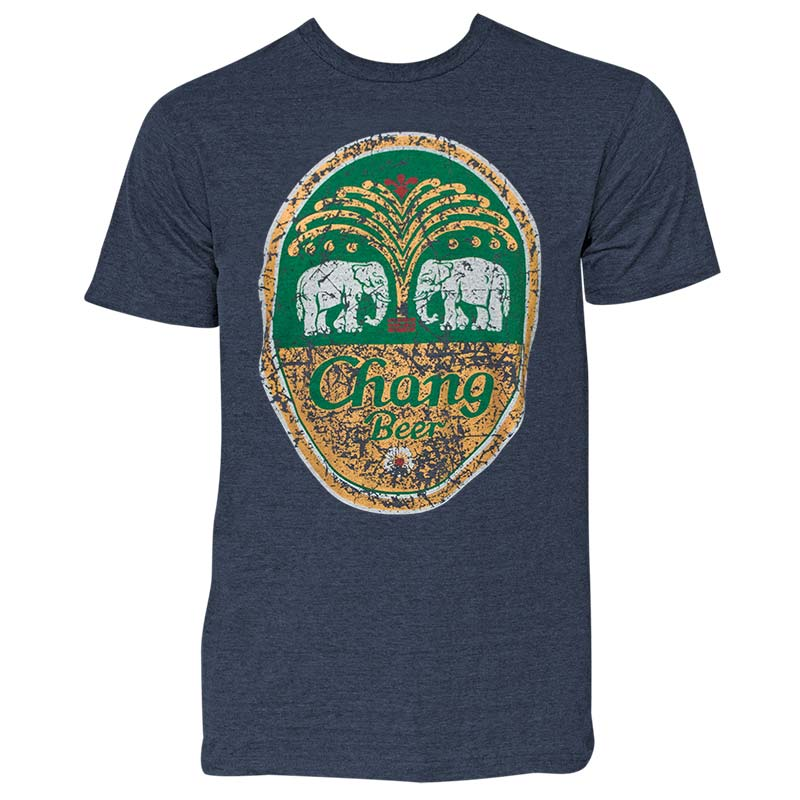 Chang Beer Denim Blue Distressed Tee Shirt