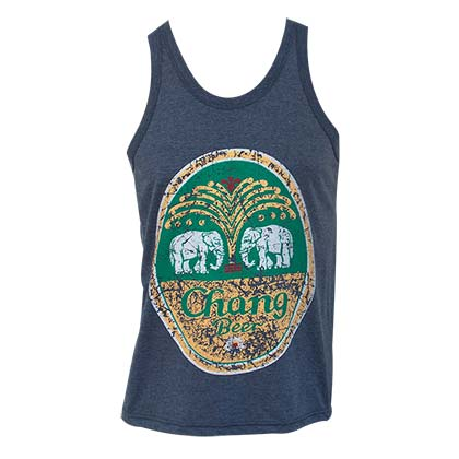 Chang Beer Men's Blue Distressed Oval Logo Tank Top