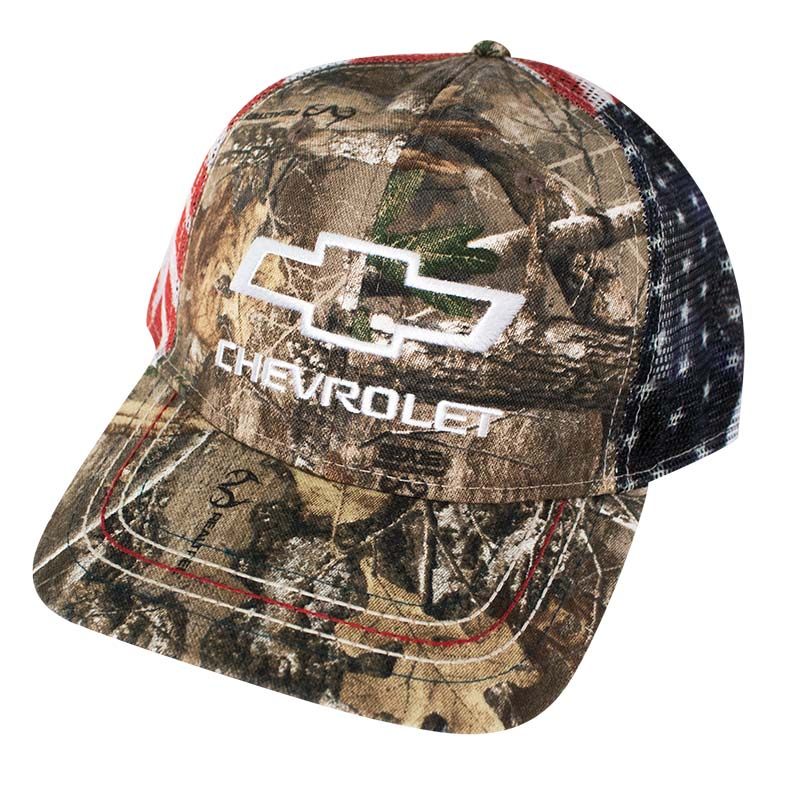 Chevrolet Adjustable American Flag Mesh Camo Trucker Hat
