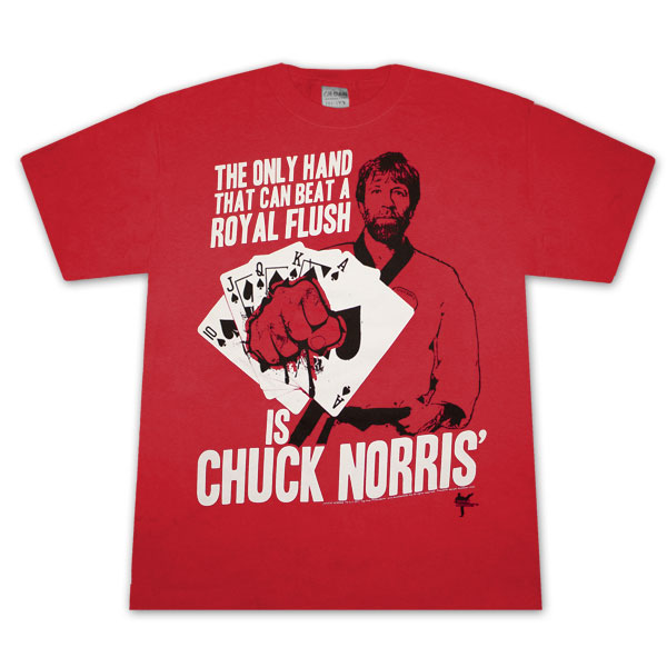 Chuck Norris Beats Royal Flush Red Graphic TShirt