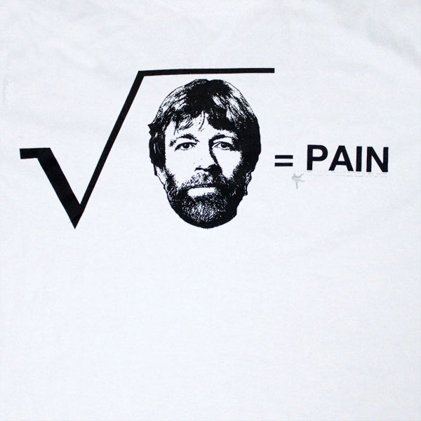 Chuck Norris Squared Pain White Graphic Tshirt