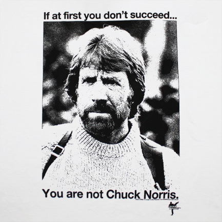 Chuck Norris Succeed White Graphic Tee Shirt