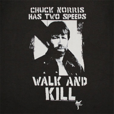Chuck Norris Walk And Kill Black Graphic T Shirt