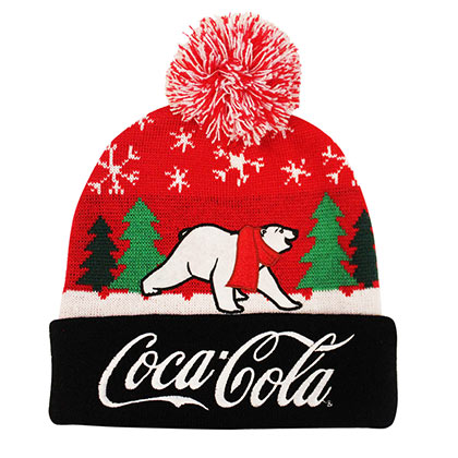Coca Cola Polar Bear Red and Black Winter Pom Hat