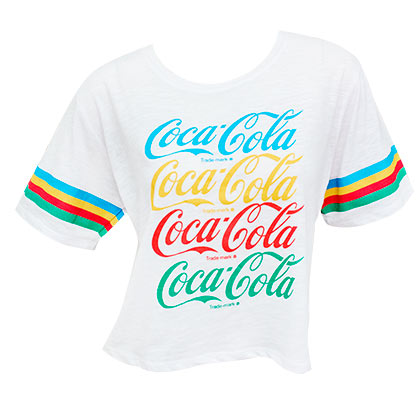 Coca Cola Rainbow Logo White Women's Cropped T-Shirt