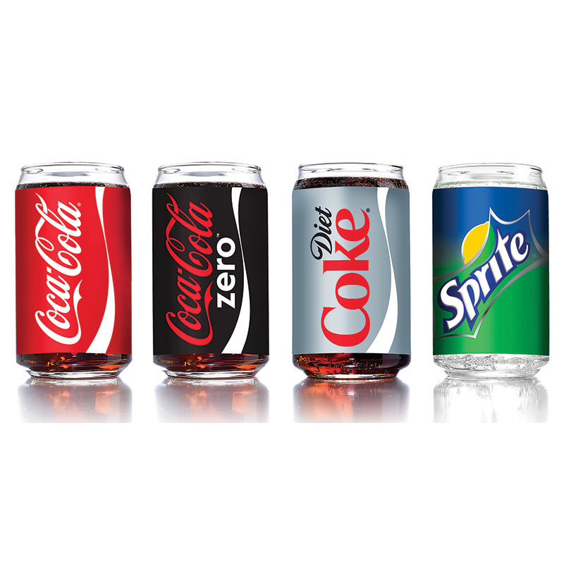Coca Cola Assorted Soda Can Drinking Glass Set