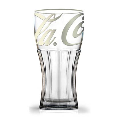 Coca-Cola Contour Platinum Print 12 Oz Glass