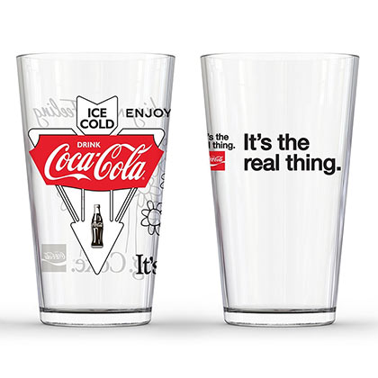 Coca Cola 2 Piece It's The Real Thing Pint Glass Set