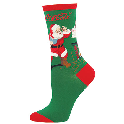 Coca Cola Green Santa Logo Women's Socks