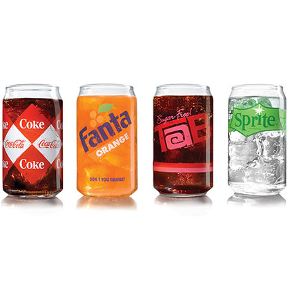 Coca Cola Vintage Four Pack Assorted Soda Can Drinking Glasses