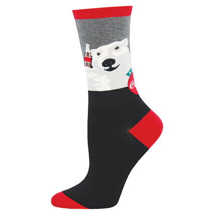 Coca Cola Classic Bear Cheers Logo Women's Socks