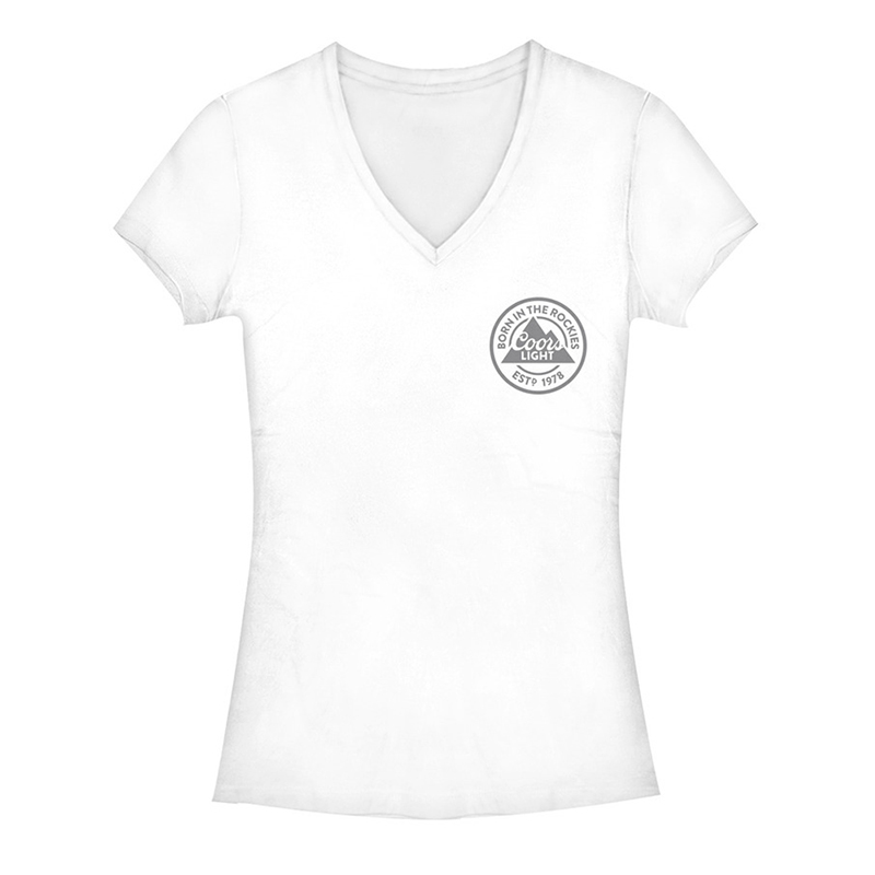 Coors Light Chest Logo V-Neck Women's White Tee Shirt