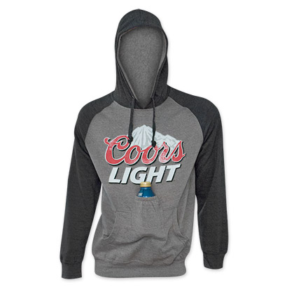 Coors Light Black Sleeve Beer Pouch Hoodie