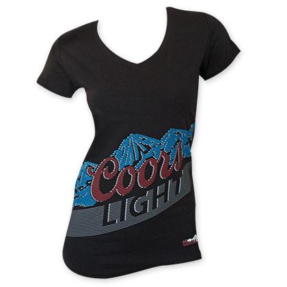 Coors Light Women's Black Lined Logo T-Shirt