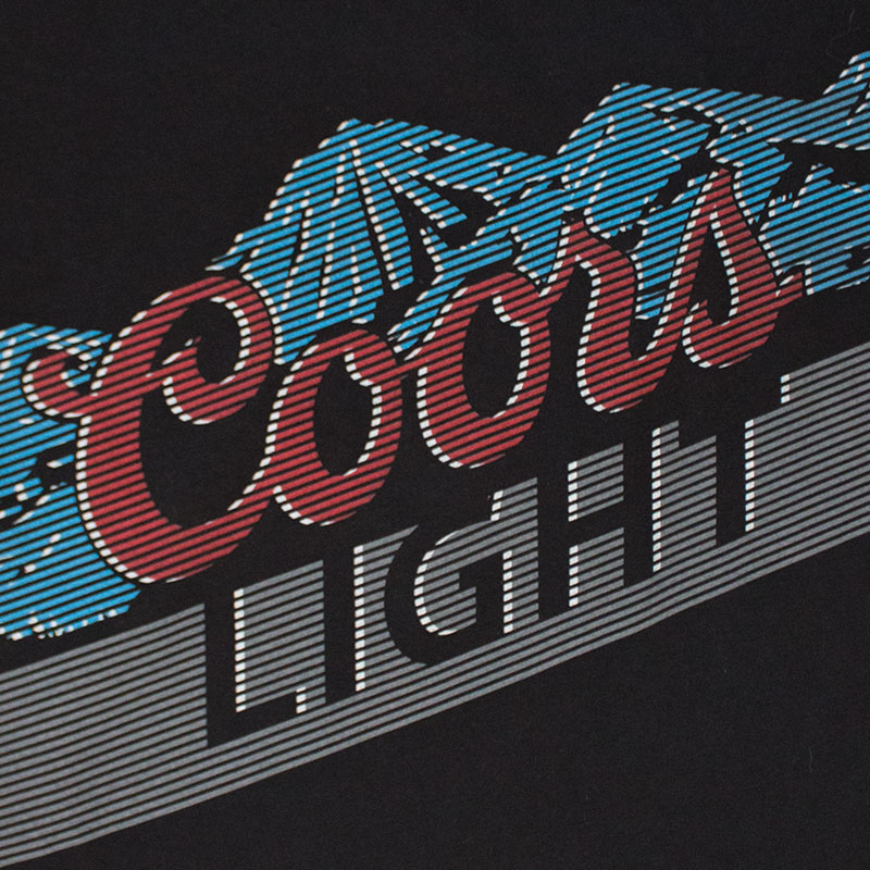 Coors Light Men's Black Lined Mountains Logo Tee Shirt