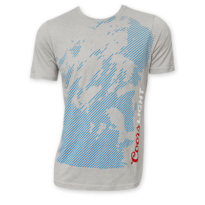 Coors Light Grey Blue Mountains Logo Tee Shirt