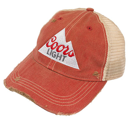 db0b66211f936 Coors Light Retro Brand Rust Colored Mountain Logo Hat