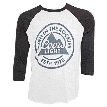 Coors Light Born In The Rockies Men's Raglan Gray Tee Shirt