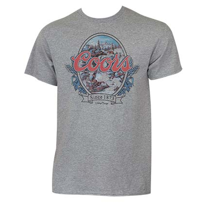 Coors Men's Grey Vintage Waterfall T-Shirt