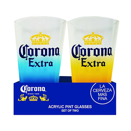 Corona Extra Set Of Two Acrylic Pint Glasses