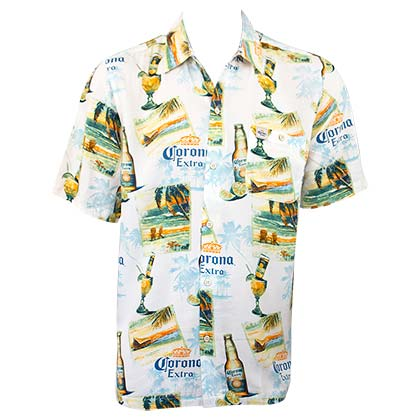 Corona Extra Men's White Ivory Coast Hawaiian Shirt