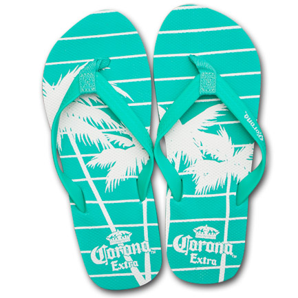 Corona Extra Palms Aqua Juniors Beach Flip Flops