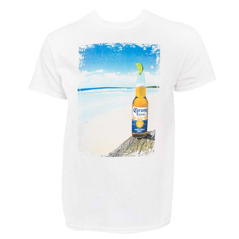 Corona Extra Beach Scene Men's White Tee Shirt