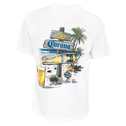 Corona Extra Men's White Beach Sign T-Shirt
