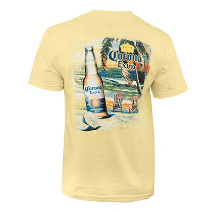 943dc71139 Corona Extra Men's Yellow Beach Scene T-Shirt