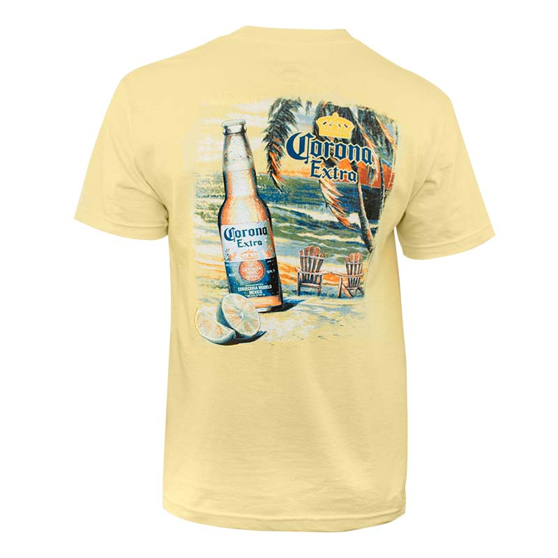 f5149827947 Corona Extra Men s Yellow Beach Scene T-Shirt