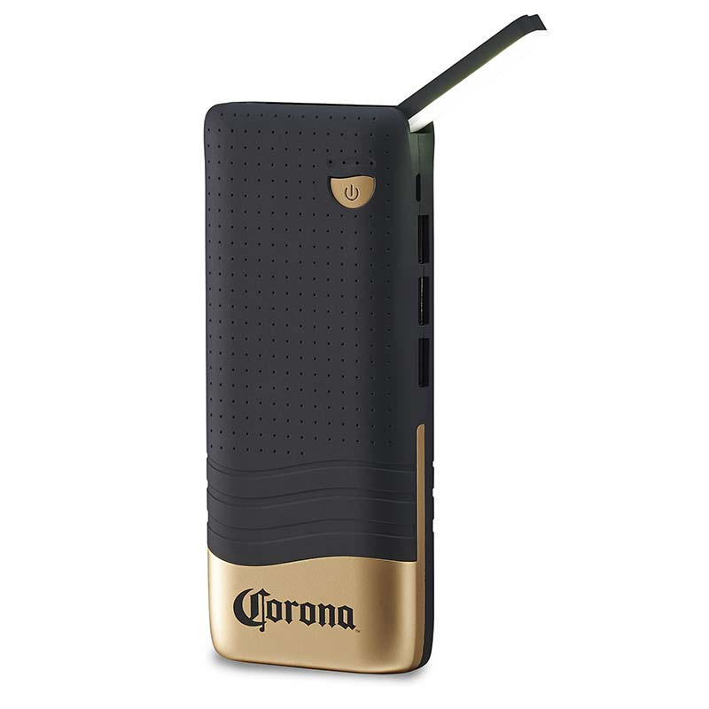 Corona Black Portable Power Bank With LED Light