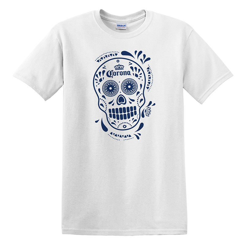 Corona Dia De Los Muertos Skull Men's White Tee Shirt