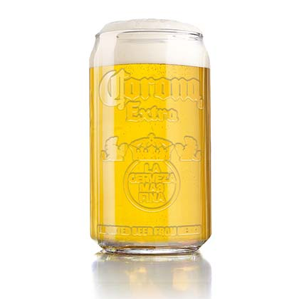 Corona Extra Imitation Can Embossed Drinking Glass